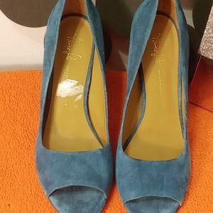 Franco Sarto Blue Suede Peep Toe sz 11